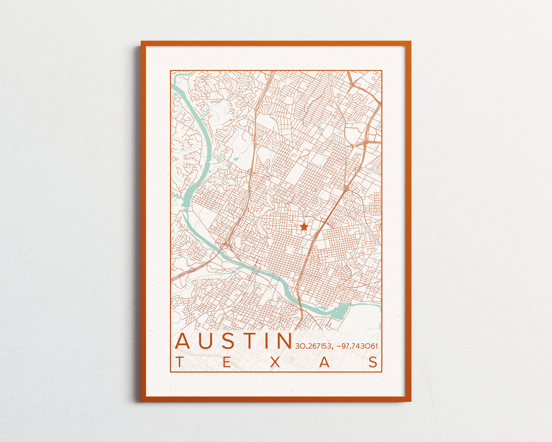 Map Of Texas University Austin.Austin Map University Of Texas Print City Of Austin Map Longhorns