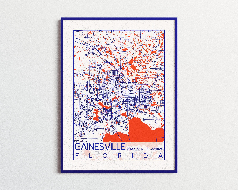 Map University Of Florida.Gainesville Map University Of Florida Print City Of Gainesville