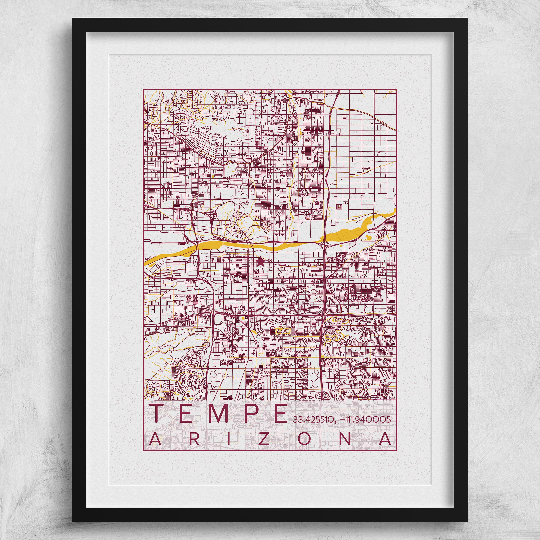 Map Of Arizona State University.Tempe Arizona Map Arizona State University Poster Print City Az