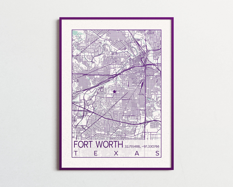 Fort Worth Texas Map Texas Christian University Print Map Horned ...