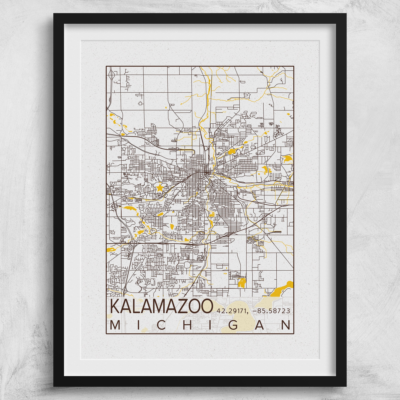 Kalamazoo Map Western Michigan University Poster Print City Of