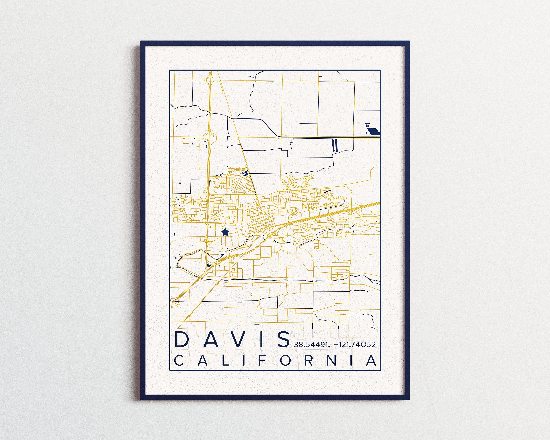 Davis California Map Poster UC Davis Print Aggies Mustang Map Davis on