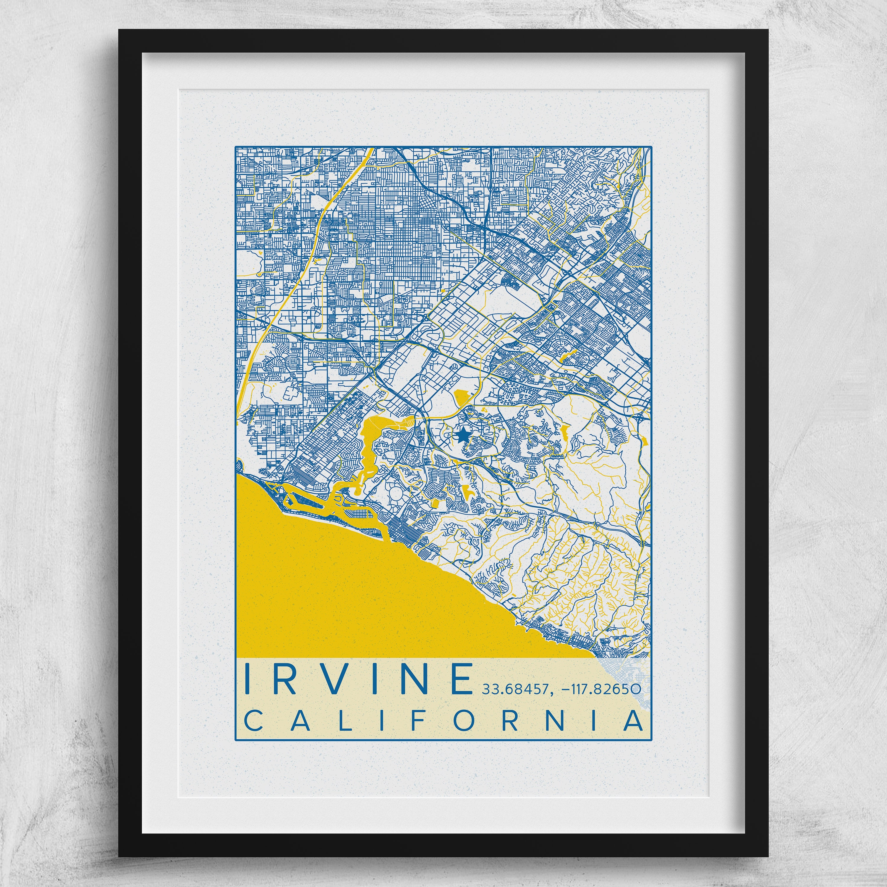Where Is Irvine California On California Map.Irvine Ca Map Uc Irvine Poster Print City Map California Anteaters