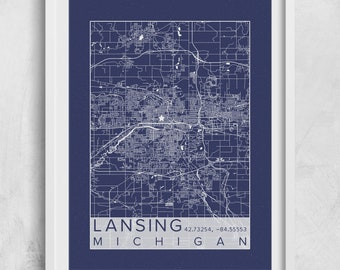 Blueprint plans etsy lansing city map print poster blueprint plans lansing michigan capital custom city map art prints map malvernweather Images