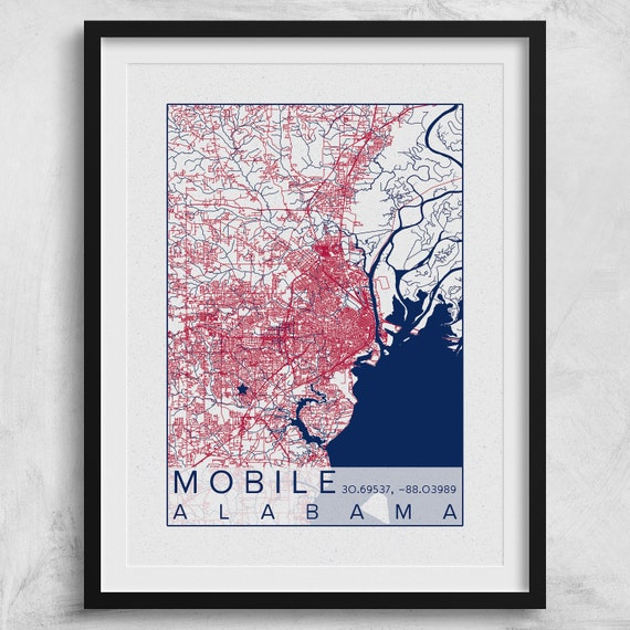 Mobile Map University of South Alabama Poster Print City of Mobile AL USA  South Jaguars Southpaw City Maps Custom University College Poster