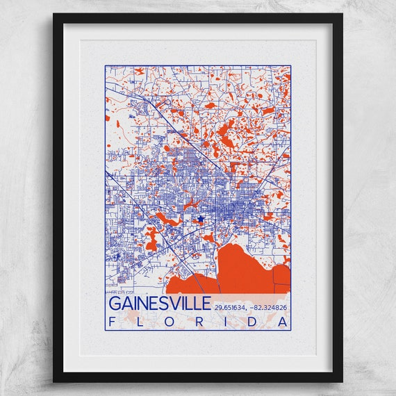 Gainesville Map Of Florida.Gainesville Map University Of Florida Print City Of Etsy