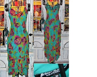 4d8c4be547b Betsey Johnson Dress VINTAGE New York Label Silk Chiffon PINK ROSE Floral  Turquoise Blue Layered Wiggle Slip Sheath Party Cocktail 10 M