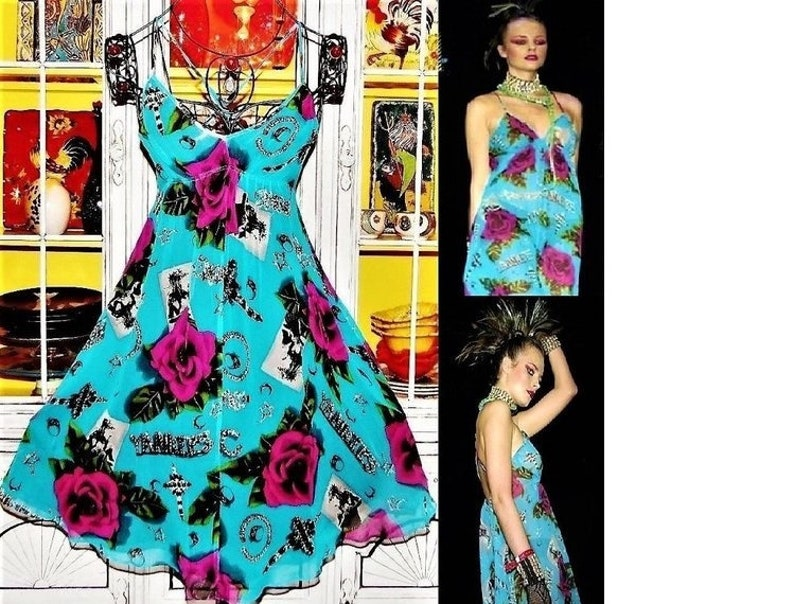 bd214e0e699 Betsey Johnson Dress VINTAGE New York Label ROSE Jewelry