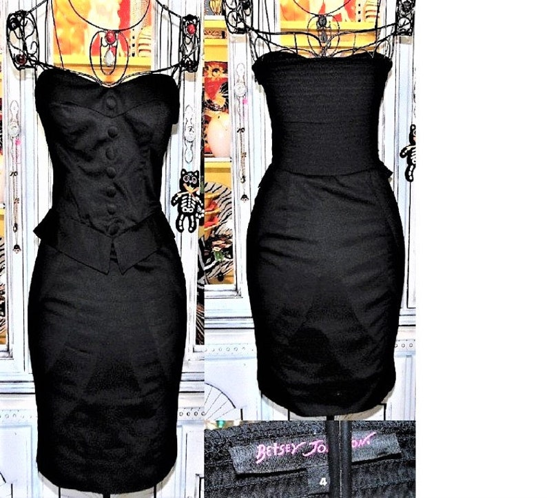 942c377620 Betsey Johnson Dress VINTAGE Stretch Cotton BLACK Strapless | Etsy