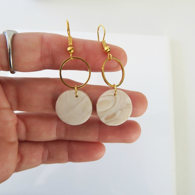 minimalist clay  earrings delicate modern jewelry  White marble earrings handmade with polymer clay