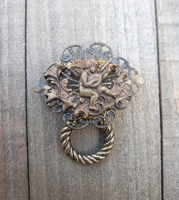 Vintage Jesus Angel Antiqued Bronze Finish Brooch Pin