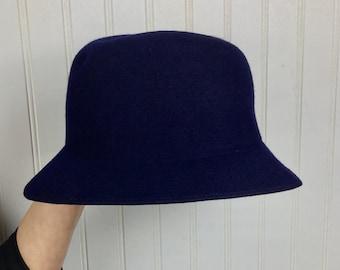 Vintage Geo. W. Bollman   Co Doeskin Felt Hat Vintage Navy Blue Winter Hat  Union Made 79638664ff0f