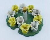 Vintage Dresden Cigarette Holder Porcelain Floral Lily Pad Antique Collectable Tobacciana