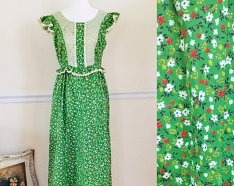 Vintage Gunne Sax Style Prairie Dress Green Calico Floral Ruffle Sleeves Dress by Hilda Hawaii