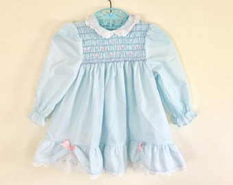 5c1d28b46c07 Vintage Polly Flinders Blue Smocked Long Sleeved Dress Size 24 Months 1980s  Baby Girls Clothing