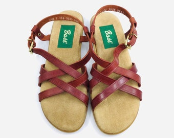 Leather Sandals Vintage 80s Bass Ankle Strap Open Toe Flats Women/'s Size 9.5 W