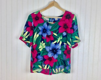 867ab63891f586 Vintage Tropical Floral Silk Short Sleeve Top Blouse Ladies Boxy Tee Size  Large Button Down Back Dana Buchman Summer