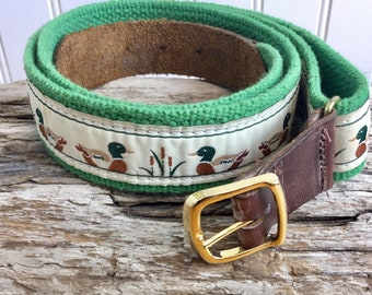 31be03e143a Vintage 80s Preppy Woven Fabric With Leather Tab Duck Theme Belt Size 32  Fabric   Leather Unisex Belt Novelty Belt