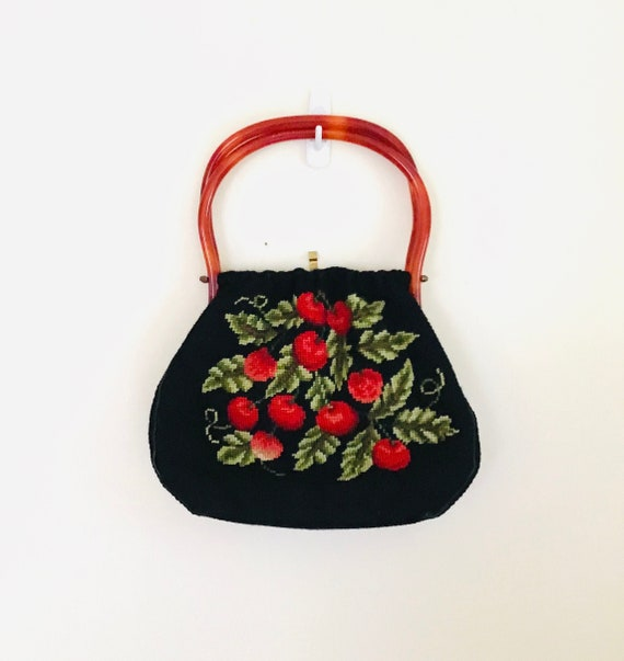 Vintage Needlepoint Cherries Handbag With Lucite H