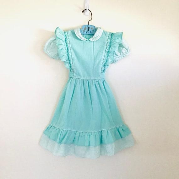 Vintage Polly Flinders Smocked Dress Green Gingham