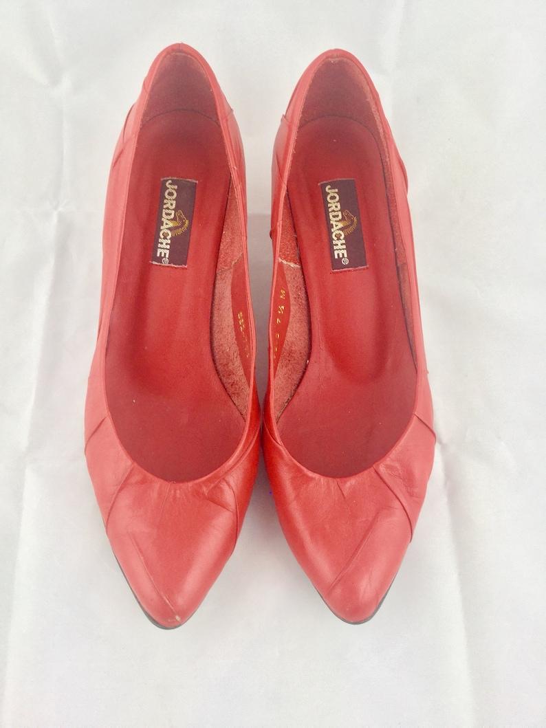 118378ea47006 Vintage 80s Jordache Red Leather Heels Pumps Shoes Retro 80s Women's Shoe  Size 7.5M 80s Party