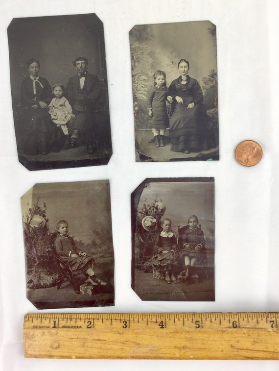Antique Tin Photos Tin Type 1800s Victorian Family Portraits Photographs  Antique Sepia Photography Oddities Curiosities