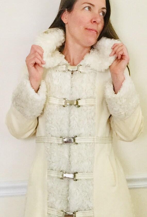Vintage 70s Penny Lane Hooded Coat Faux Fur Trim W