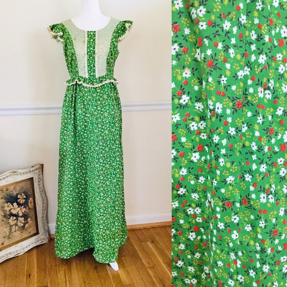 Vintage 1970s Prairie Maxi Dress By Hilda Hawaii G