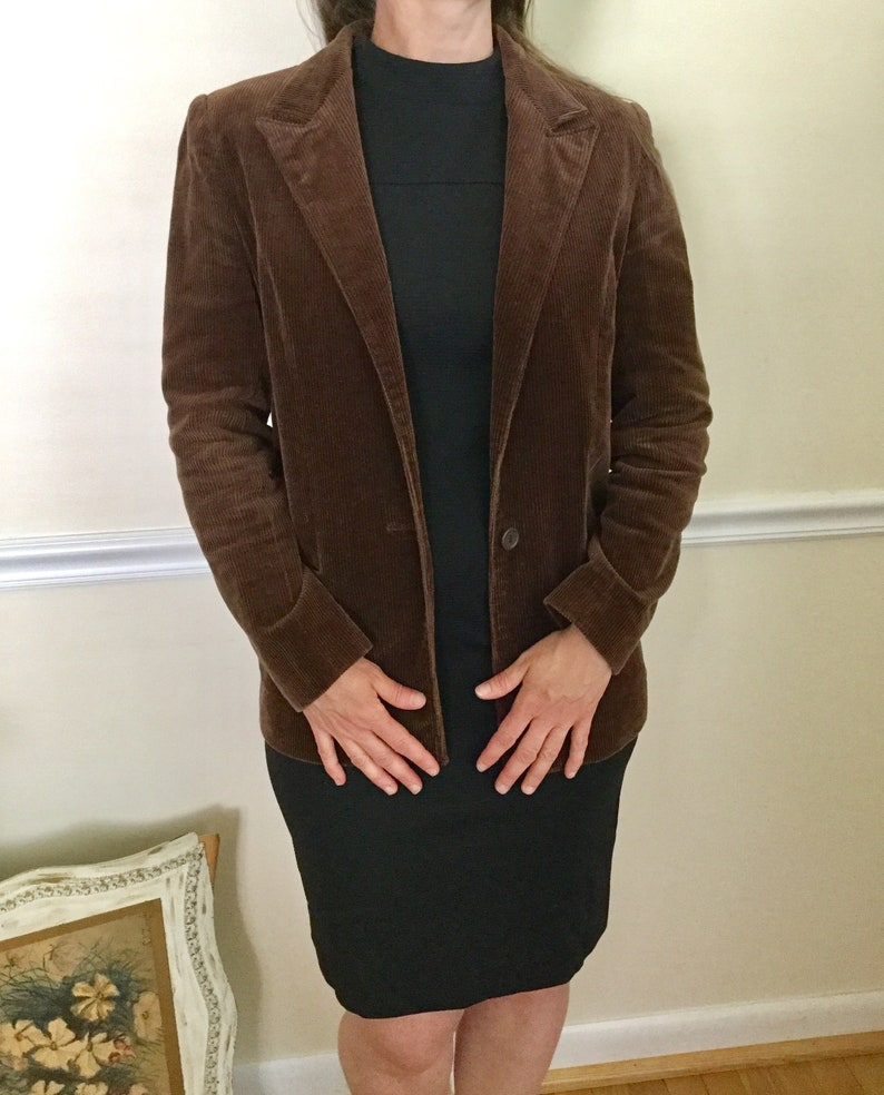 1980s Jordache Brown Corduroy Blazer Jacket Retro 80s Fall Winter Clothing