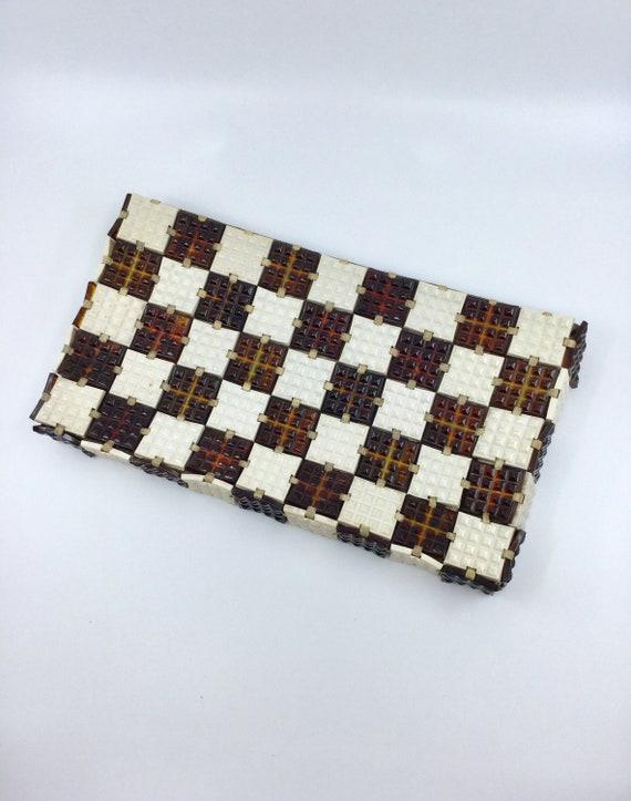 Vintage 40s Plastic Tile Clutch Purse Jorues Check