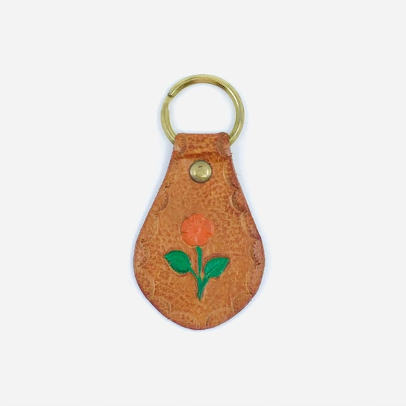 Vintage 70s Western Tooled Leather Key chains