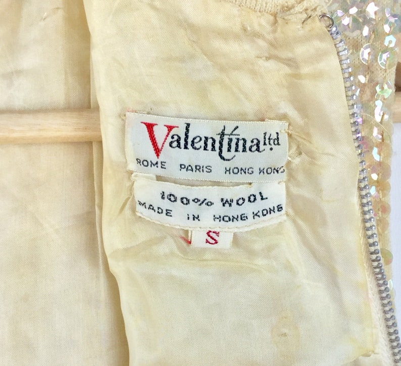 Please Read Full Description Vintage 1960s Top VALENTINA Ltd Beaded Sequined Shell Top Womens Vintage Clothing Size XS-S