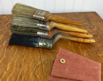 Set of 4 Vintage Paintbrushes Wood Handles Various Paintbrush & Sizes