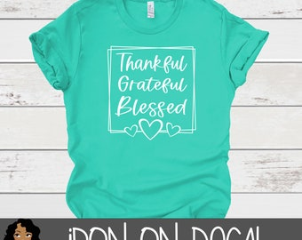 Thankful Blessed Iron On Decal