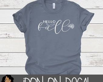 Hello Fall Iron On Decal