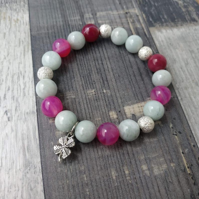 Natural stone,Jewelry gift for women Pink Agate 10mm Bracelets Clover Aquamarine 10mm Bracelet Gemstone stretch bracelet