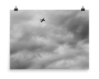 Airplane In Clouds Black and White Photo 18x24, 12x12