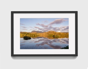 Sunset over Quinag and Loch Drumbeg - Scotland - Fine Art Photography Wall Art Poster