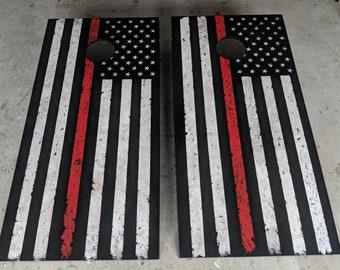 Thin Red Line or Blue Line Flag Cornhole Set