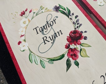 Hand Painted Wedding Cornhole Boards