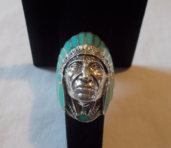 BIG~Sterling Silver~Turquoise~Chief~Ring~Indian~Ch