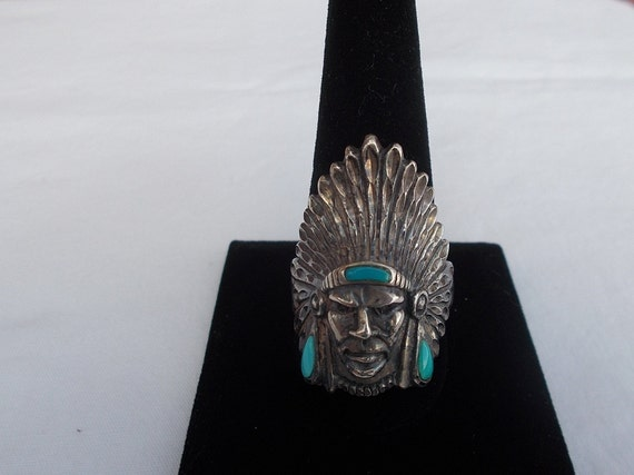 Vintage~Sterling Silver~Turquoise~Chief~Ring~Indi… - image 1
