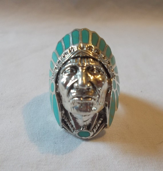 BIG~Sterling Silver~Turquoise~Chief~Ring~Indian~C… - image 3