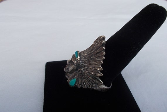 Vintage~Sterling Silver~Turquoise~Chief~Ring~Indi… - image 2