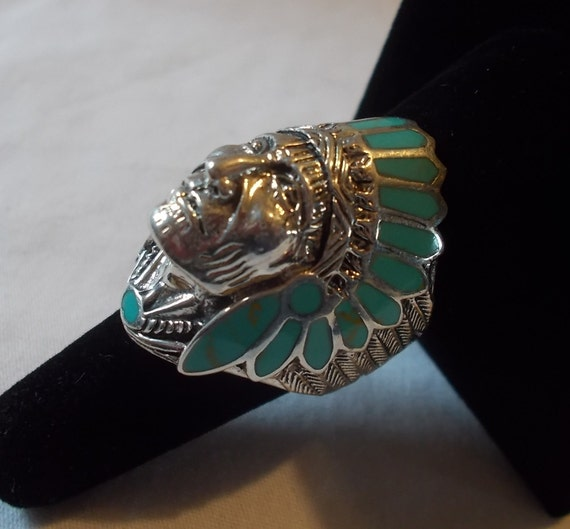 BIG~Sterling Silver~Turquoise~Chief~Ring~Indian~C… - image 2