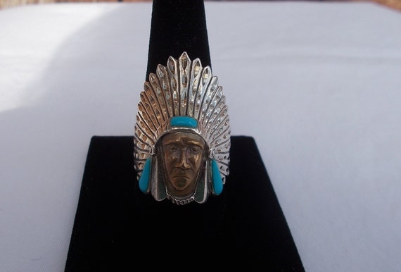 Vintage~Sterling Silver~Turquoise~Chief~Ring~India