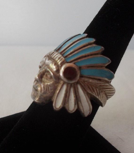 OLD~Sterling Silver~Turquoise~MOP~Chief~Ring~Indi… - image 2