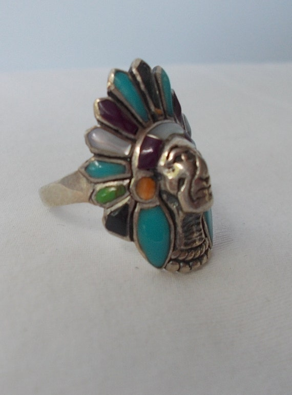 Sterling Silver~Turquoise~Multi~Gem~Stone~Chief~R… - image 3