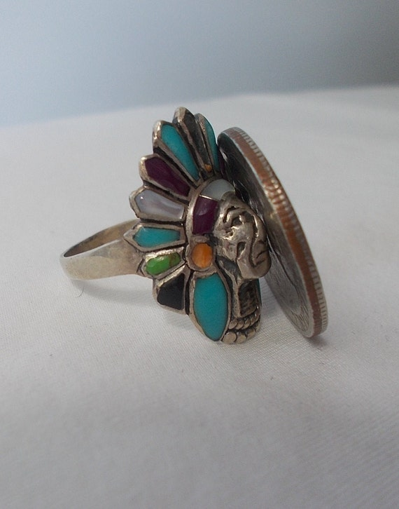 Sterling Silver~Turquoise~Multi~Gem~Stone~Chief~R… - image 6