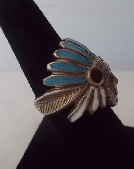 OLD~Sterling Silver~Turquoise~MOP~Chief~Ring~Indi… - image 3